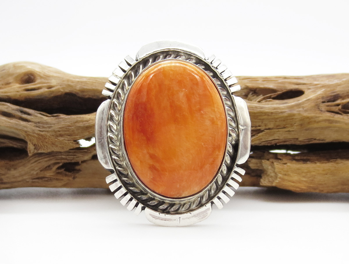Orange Spiny Oyster & Sterling Silver Ring Sz 9 Navajo Jewelry - 6175dt