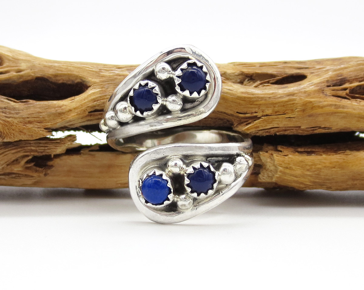 Lapis & Sterling Silver Adjustable Ring Native American Jewelry - 6176rb