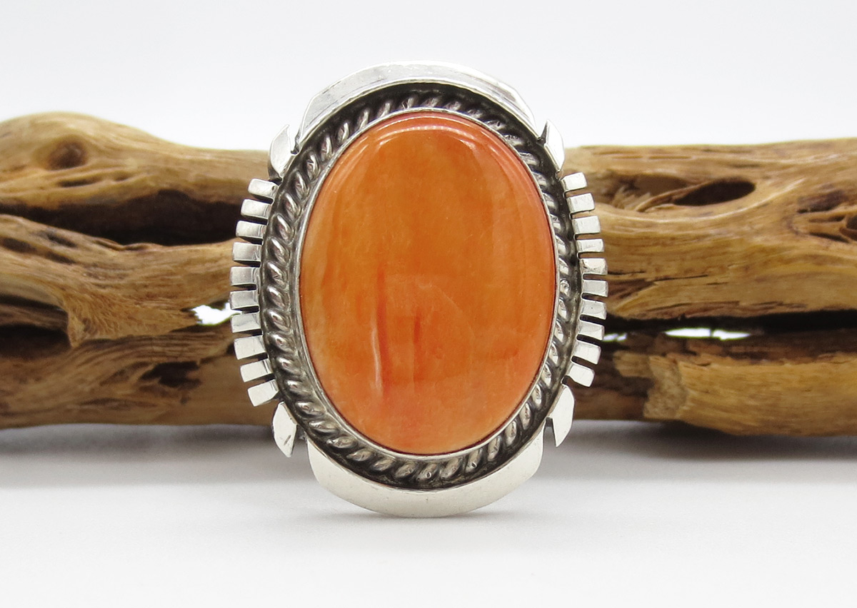 Orange Spiny Oyster & Sterling Silver Ring Sz 9.25 Navajo Jewelry - 6180dt