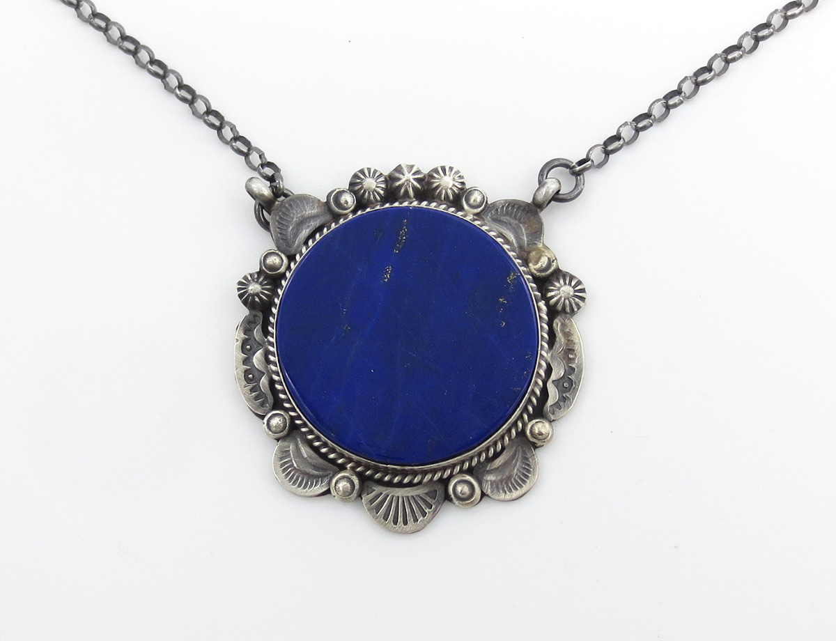 Lapis & Sterling Silver Pendant Necklace Native American Jewelry - 6186dt