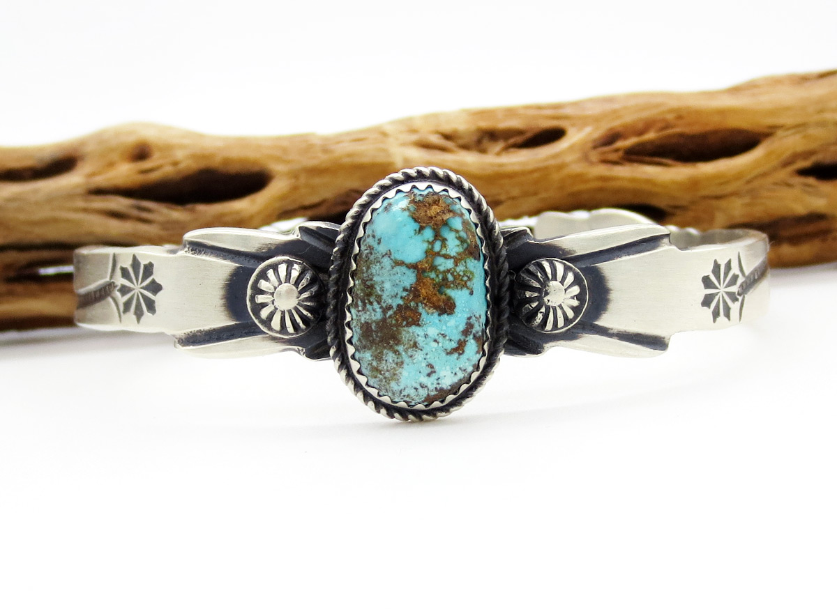 Image 1 of Turquoise & Sterling Silver Bracelet Native American Jewelry - 6187dt