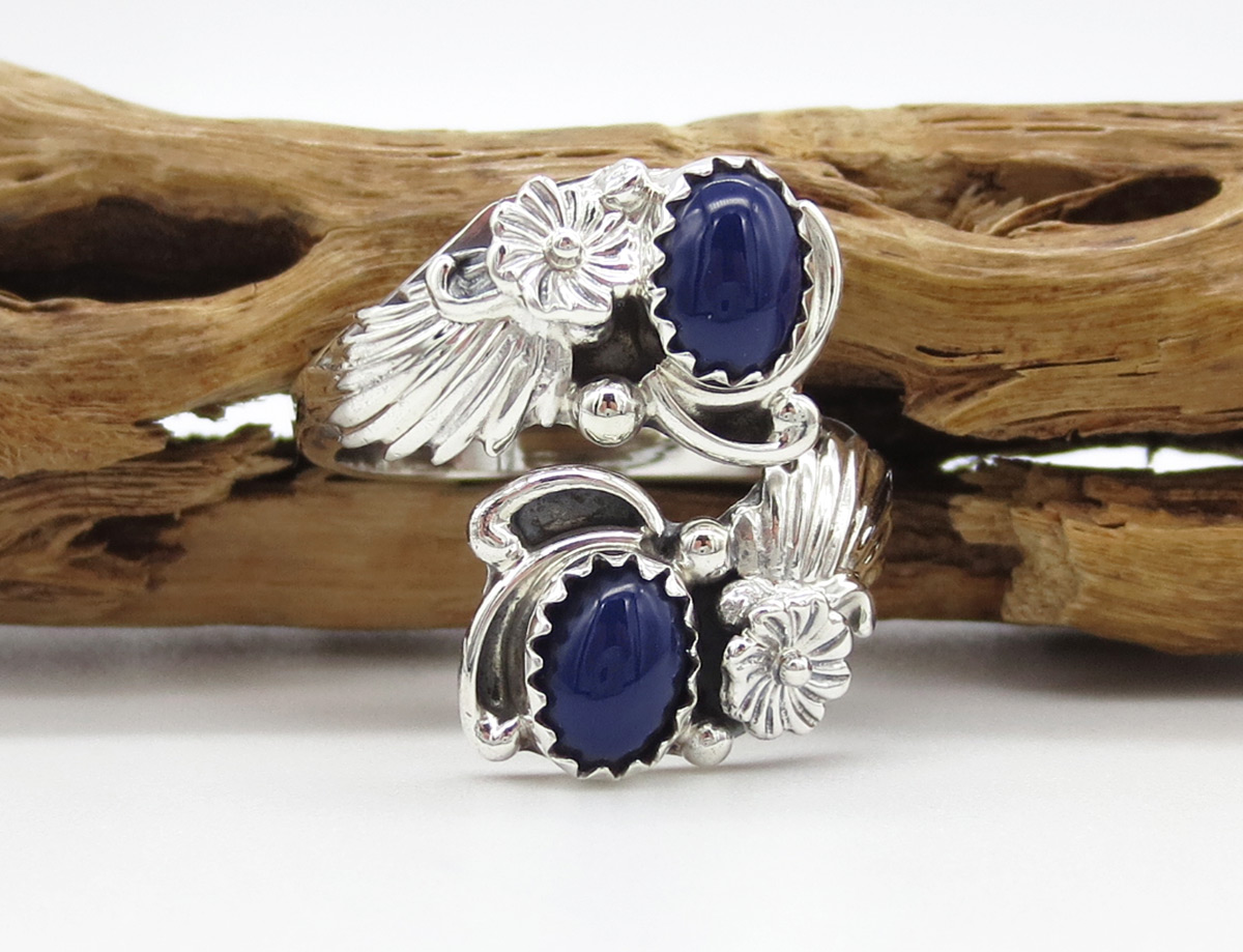 Lapis & Sterling Silver Adjustable Ring Native American Jewelry - 6183rb