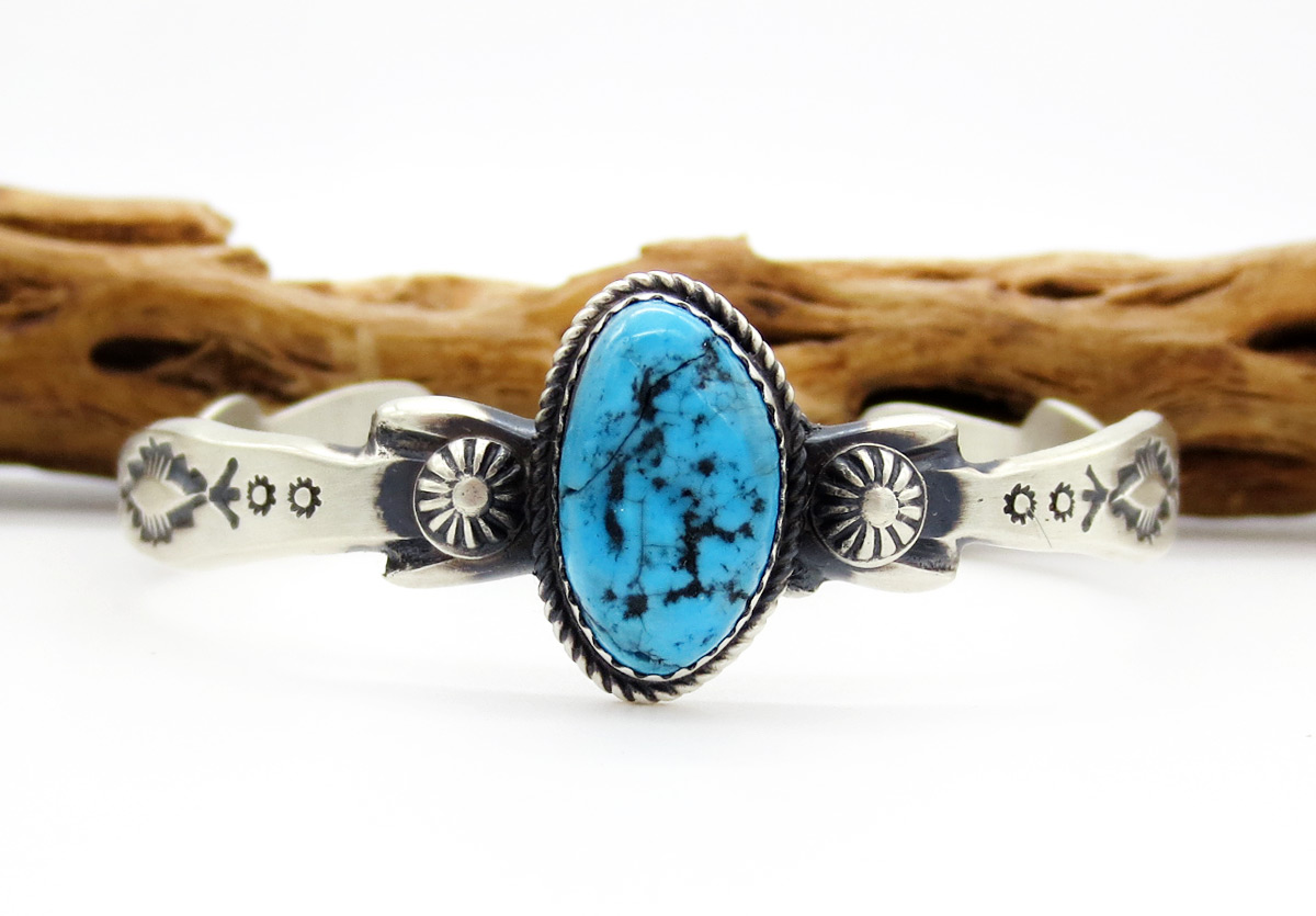 Image 1 of     Turquoise & Sterling Silver Bracelet Native American Jewelry - 6193dt