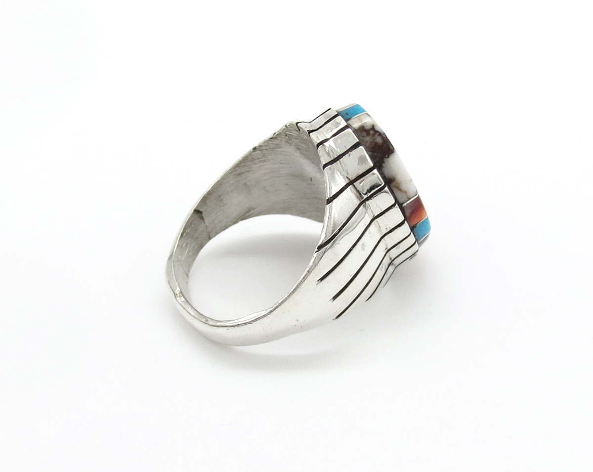 Image 1 of    Multi Stone Inlay & Sterling Silver Unisex Ring Sz 9 - Trevor Jack - 6184rb