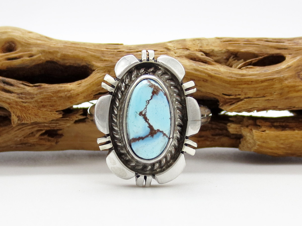 Golden Hill Turquoise & Sterling Silver Ring Sz 8.5 Navajo Made - 8104rio