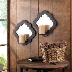 Set of 2 Damask Framed Mirrored Pillar Candle Wall Sconces