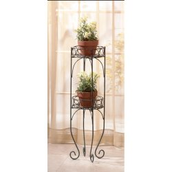 2-Tier Lacy Scroll Plant Stand Metal