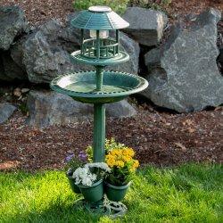 3-in-1 Solar Lamp Birdbath Planter Garden Centerpiece