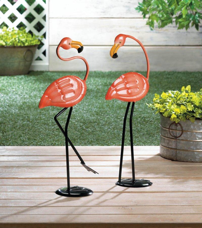 Image 0 of Set of 2  Small Pink Iron Flamingos Garden Statue Figurines