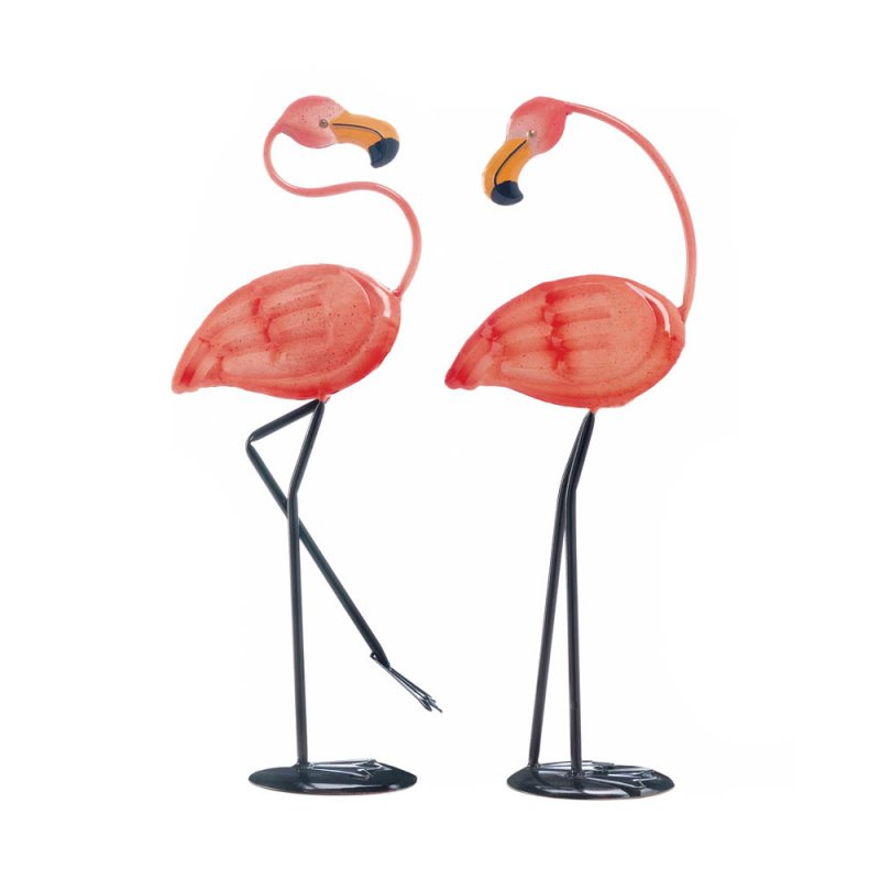 Image 1 of Set of 2  Small Pink Iron Flamingos Garden Statue Figurines