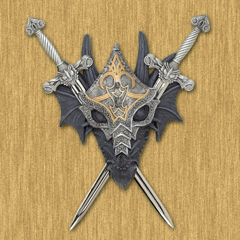 Image 0 of Armored Dragon Wall Crest Pewter Swords