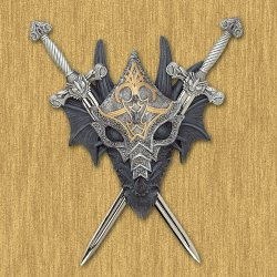 Armored Dragon Wall Crest Pewter Swords