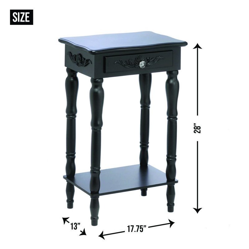 Image 2 of Black Colonial Side, End Table or Night Stand Curvy Carvings, Pull Knob Drawer