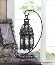 Black Hanging Moroccan Lantern on Scrollwork Stand