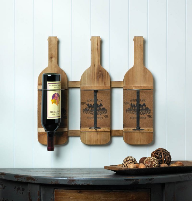 Image 0 of Wooden Wall Mounted Wine Rack w/ Printed France's Bordeaux Wine Region