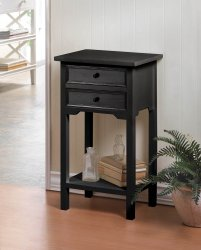 Black Side, Accent End Tables Nightstands w/ 2 Drawers and Shelf
