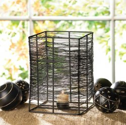 Large Thatched Black Iron Tealight Candle Holder Stand