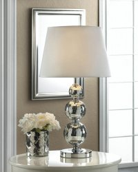 Broadway Glitz 3 Varied Size Mirrored Ball on Circular Base with White Shade