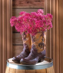Cowboy Boot Planter With Fancy Stitching and Worn Look Western Decor