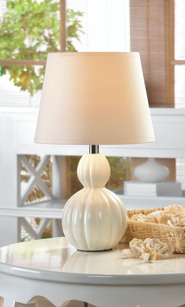 Image 0 of Charlotte Contemporary Ceramic Ivory Base Mini Table Lamp with White Shade