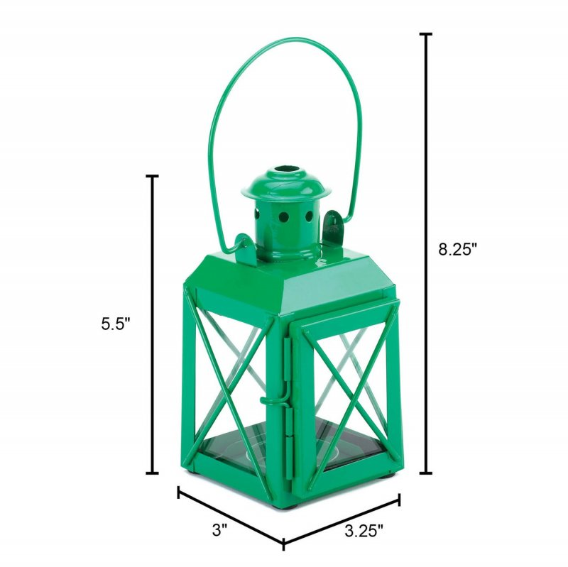Image 1 of Charming Green Railroad Style Candle Lantern Lamp