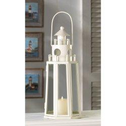 Contemporary Design Ivory Finish Lighthouse Candle Lantern Nautical Decor