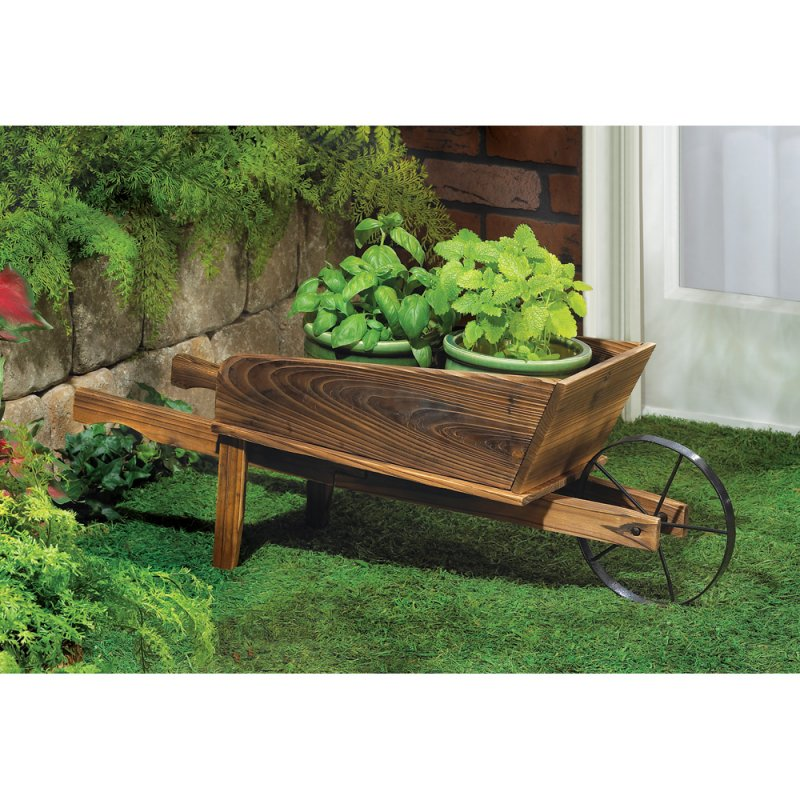Image 0 of Country Flower Cart Wheel Barrow Garden Planter