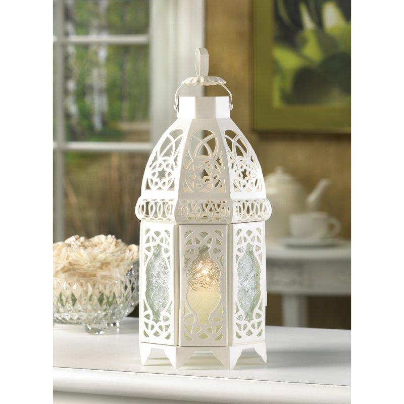 Image 0 of Creamy White Lacy Lattice Candle Lantern