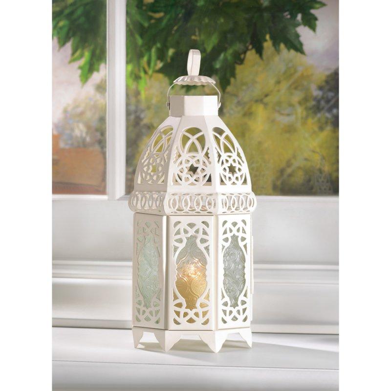 Image 1 of Creamy White Lacy Lattice Candle Lantern