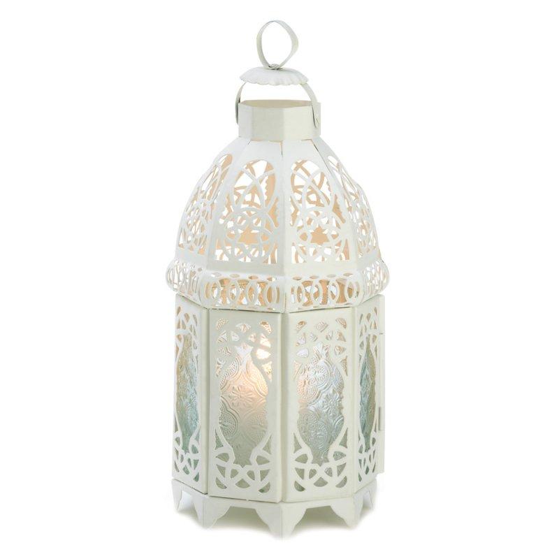 Image 2 of Creamy White Lacy Lattice Candle Lantern