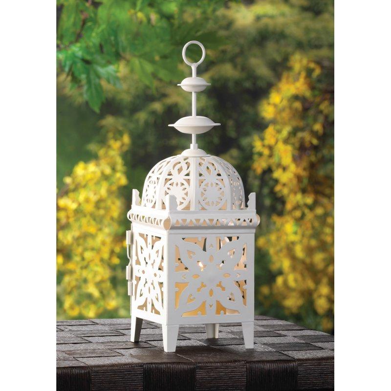 Image 0 of Creamy White Medallion Lantern Wedding Centerpiece