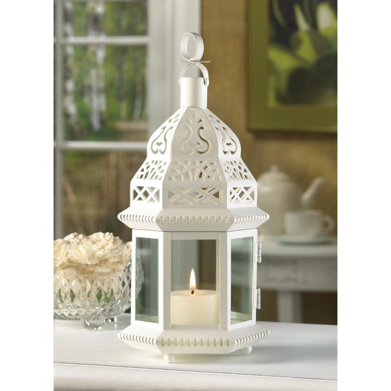 Image 1 of Creamy White Moroccan Style Lantern Clear Glass Panels Wedding Centerpieces