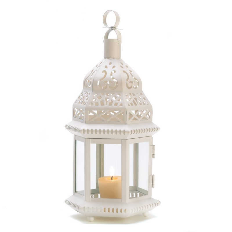 Image 2 of Creamy White Moroccan Style Lantern Clear Glass Panels Wedding Centerpieces