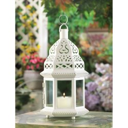 Creamy White Moroccan Style Lantern Clear Glass Panels Wedding Centerpieces
