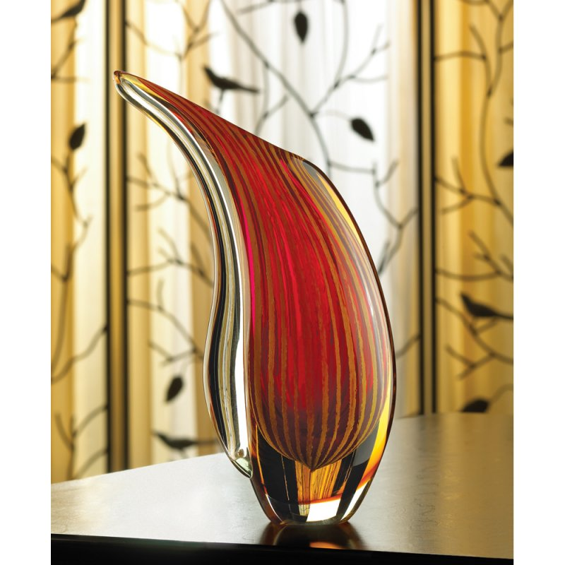 Image 1 of Crimson Sunset Abstract Freeform Art Glass Vase