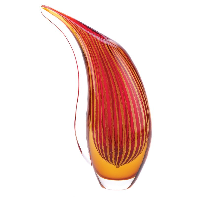 Image 0 of Crimson Sunset Abstract Freeform Art Glass Vase