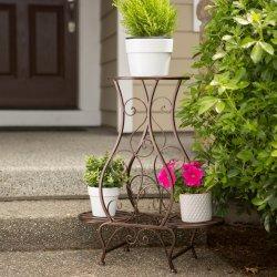 Decorative Curling Embellishments Hourglass Shape Triple Pot Plant Stand