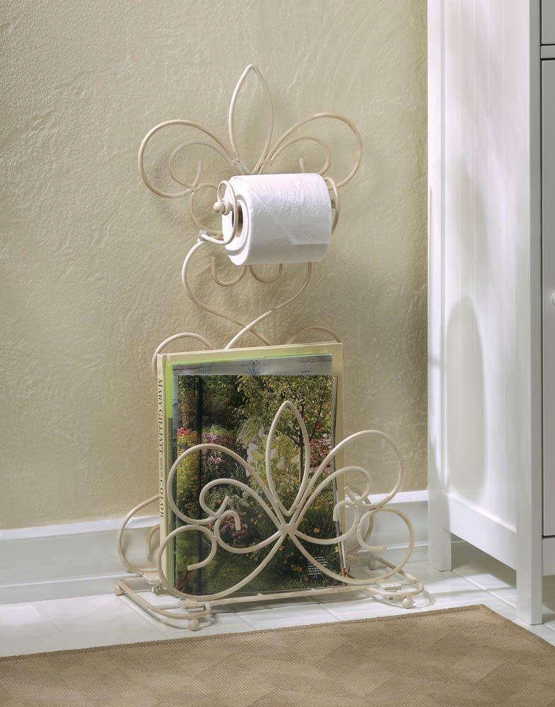 Image 0 of Distressed Ivory Fleur de Lis Scrollwork Toilet Paper Holder & Magazine Rack