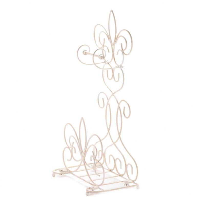 Image 1 of Distressed Ivory Fleur de Lis Scrollwork Toilet Paper Holder & Magazine Rack