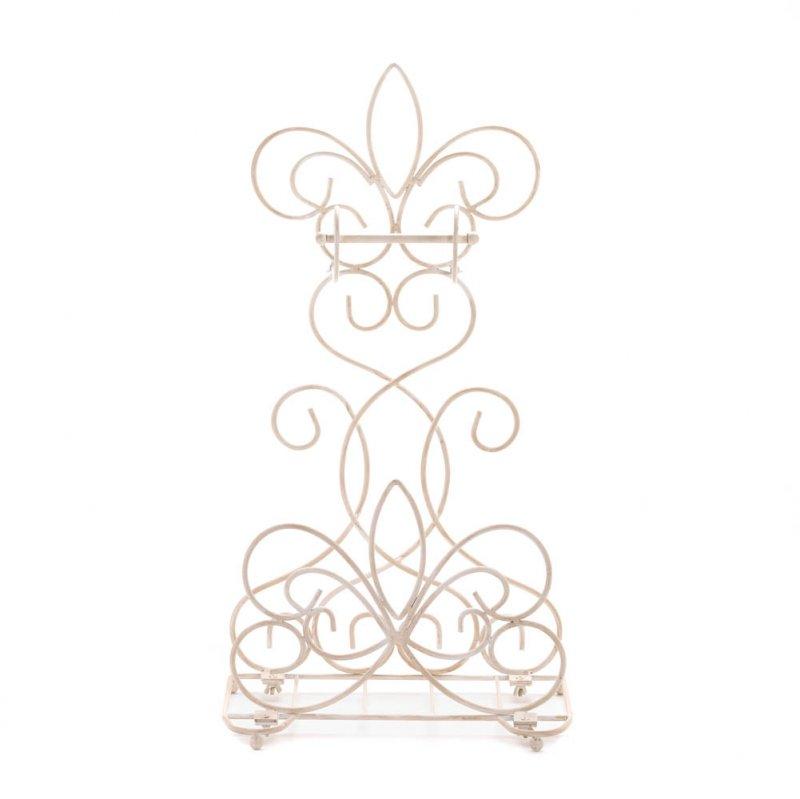 Image 2 of Distressed Ivory Fleur de Lis Scrollwork Toilet Paper Holder & Magazine Rack