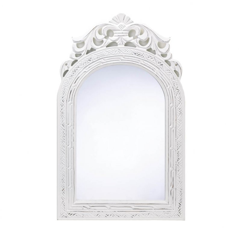 Image 1 of Distressed White French Arched Top Wall Mirror. Wood