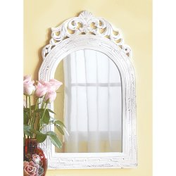 Distressed White French Arched Top Wall Mirror. Wood