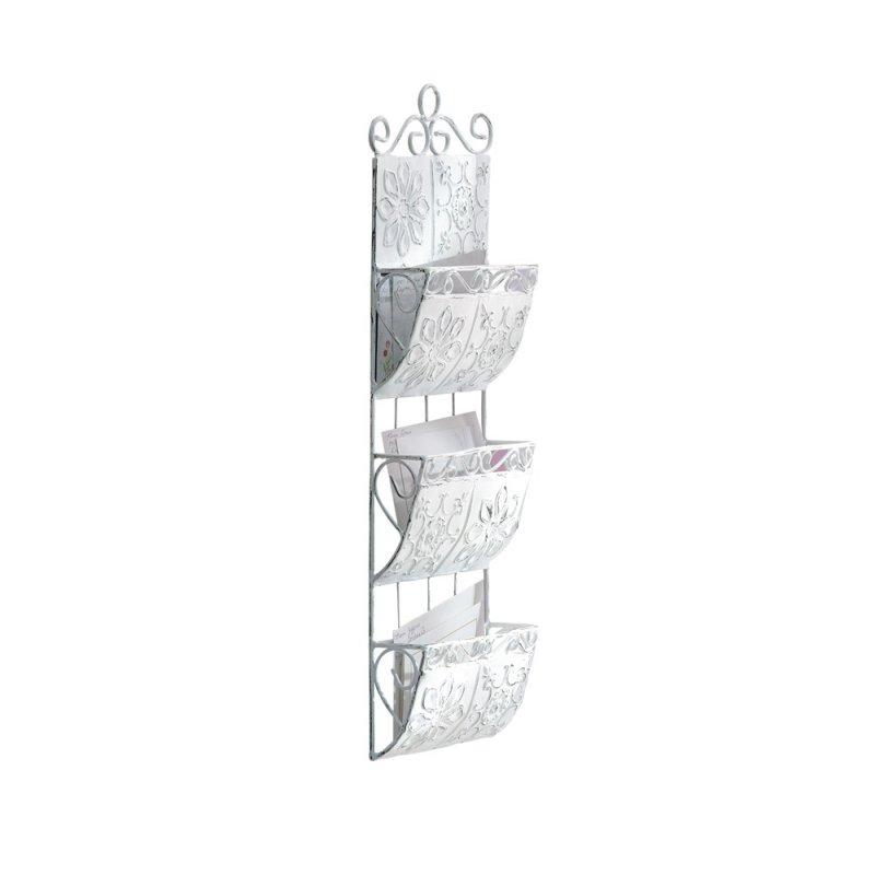 Image 1 of Distressed White Metal Tile Letter Holder