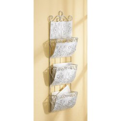 Distressed White Metal Tile Letter Holder