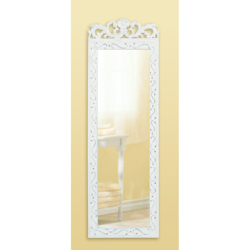 Weathered white wood frame mirror