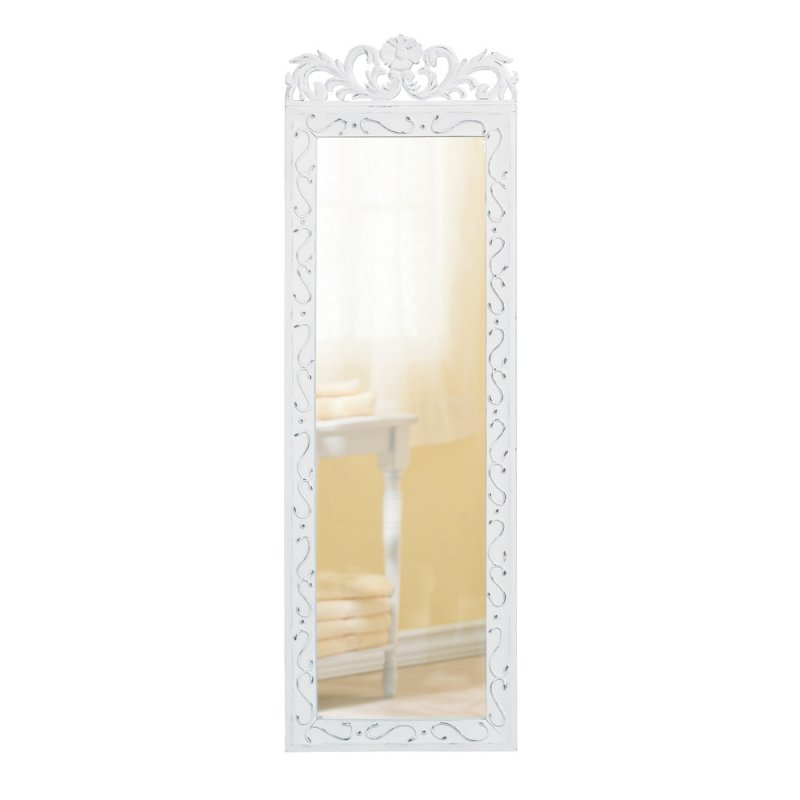 Image 1 of Elegant Floral Crown Distressed White Wall Mirror