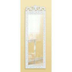 Elegant Floral Crown Distressed White Wall Mirror