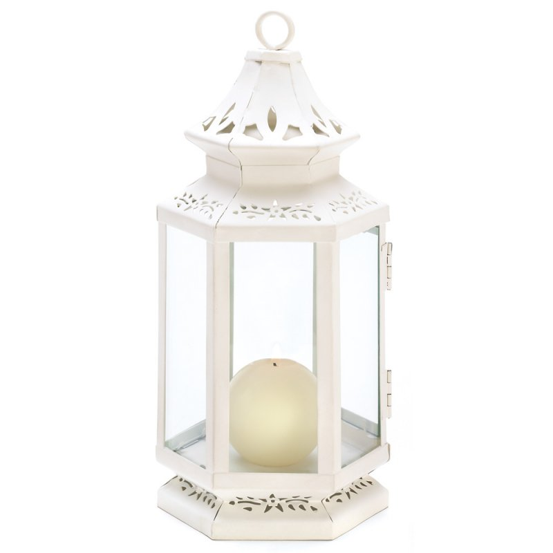 Image 1 of Elegant Medium White Victorian Design Candle Lantern