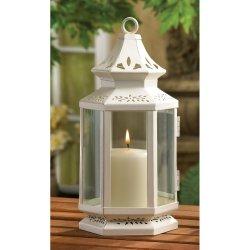 Elegant Medium White Victorian Design Candle Lantern