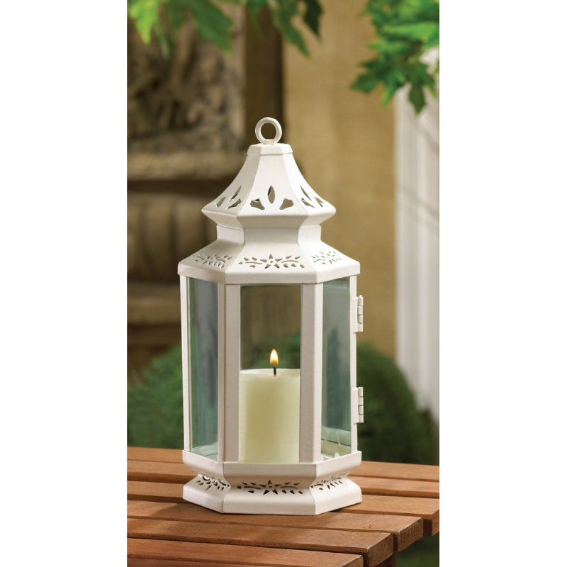 Image 0 of Elegant Small White Victorian Design Candle Lantern